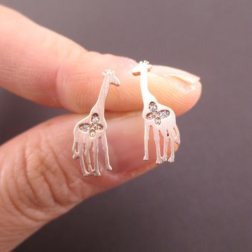 Giraffe Silhouette Shaped Allergy Free Stud Earrings with Butterfly Detail in Rose Gold
