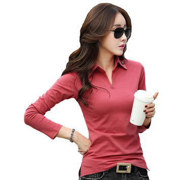 Spring Autumn Polo Shirt Women 2016 Long Sleeve Solid Slim Polos Mujer Shirts Tops Fashion Plus Size Polo Femme Candy Color A474
