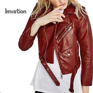 Imvation 2017 Spring Faux Leather Jacket Moto Jacket Women Jacket Zipper Epaulet Belt Basic Coat Women Outwear Coat