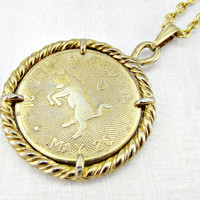 Vintage Mens Astrology Necklace, TAURUS Zodiac Necklace, Gold Coin Necklace, Gold Bull Pendant Necklace, 1970s Astrology Zodiac Jewelry
