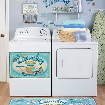 Lively Sentiment Laundry Room Accent Decor Magnet Decals Rug Valance Wall Basket