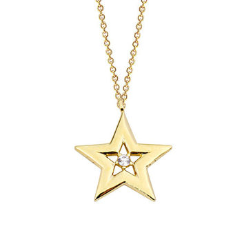 Star 14k Solid Gold Necklace