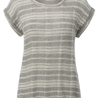 Womens Lightweight Short Sleeve Marled Ribbed Knit Shirt