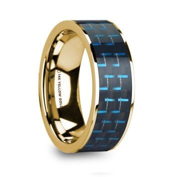 Black Blue Carbon Fiber Inlay 14k Gold Wedding Band, Flat