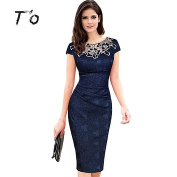 T'O Hot Sale Elegant Lady Vintage Embroidery Hollow out Round Neck Cap Sleeve Ruched Bodycon Evening Party Pencil Dress 389
