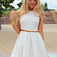 White Sleeveless Fit&Flare Belted Dress with Polka Dot Bodic