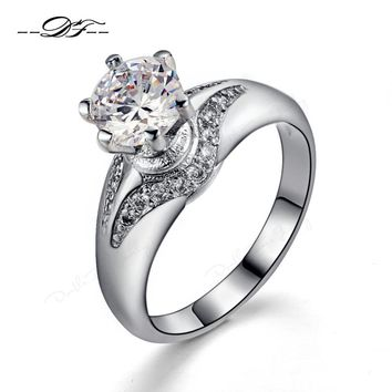 Silver Color AAA Cubic Zirconia Bijoux Fashion Design 6 Prong Sparkling Wedding &Engagement Ring Jewelry For Women DFR525