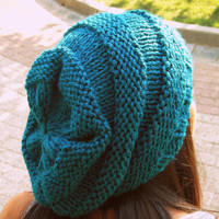 Turquoise Slouchy Beanie Hat ,Beanie Hat,handknit hat,handmade hat,knit hat,beanie,women hat,winter hat