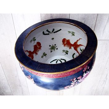 Chinese Porcelain Blue Fish Bowl Planter Enameling Gilt Pink Flowers
