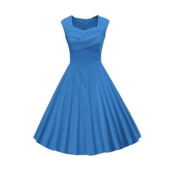 Classy Audrey Hepburn Style 1950s Vintage Rockabilly Swing Dress, Sizes Small - 2XLarge (Blue)