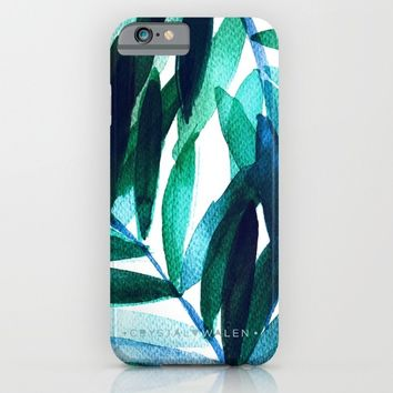 Palm Leaves - Teal Ombre iPhone & iPod Case by CRYSTAL WALEN
