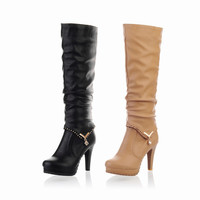 On Sale Hot Deal Rhinestone Knee-length Winter Stylish Round-toe Waterproof Boots [9432962058]