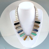 Modernist Sterling Silver Gemstone Necklace - Sodalite, Onyx, Tigers Eye, Turquoise