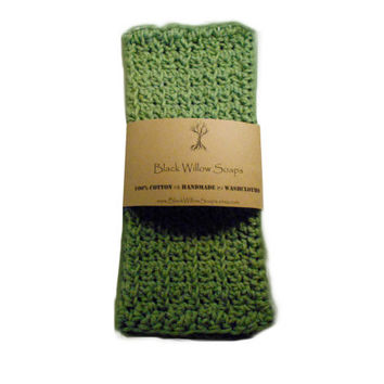 Handmade Crochet 100% Cotton Washcloth, Sage Green, Housewarming Gift, Kitchen Cloth, Bath Cloth
