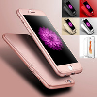 I6 6s 4.7 5.5 Luxury Gold Hard PC Case For Iphone 6 6s / Iphone 6 Plus Front Clear Glass Film Back Cover Coverage 360 Degree