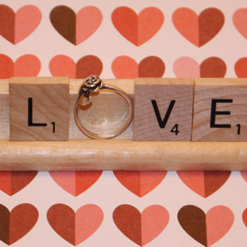 Love Scrabble Engagment Ring Holder, Engagemnt Photo Props - Anniversary, Present topper, Bridal Shower, Bachelorette Party, Engagement