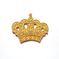 Iron on Patch/ Gold Crown/ Applique