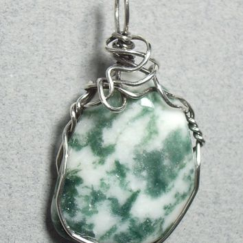 Tree Agate Stone Pendant Wire Wrapped .925 Sterling Silver