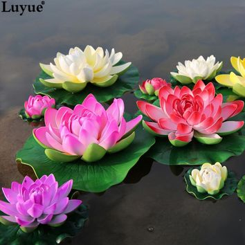 Luyue 5pcs/lot Artificial Foam Lotus Flowers Fake Bouquet for Wedding Decoration Fish Tank Floating Water Simulation Lily Lotus