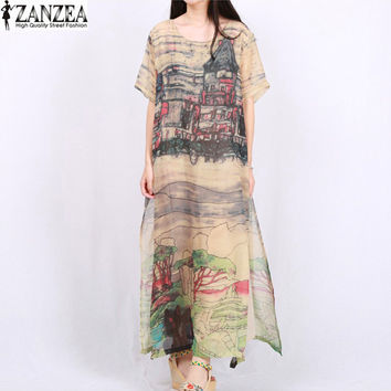 L-5XL ZANZEA Vintage Women Floral Printed Short Sleeve Silk Maxi Long Dress Boho Ladies Kaftan Tunic Plus Size Vestidos 2017