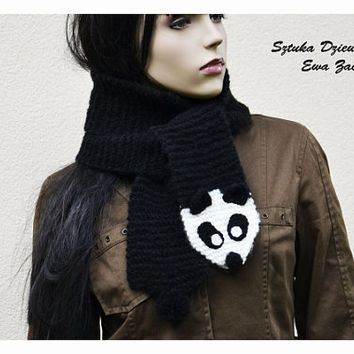 Long Panda  scarf , hand knit scarf , black & white scarf , Scarf Made to order