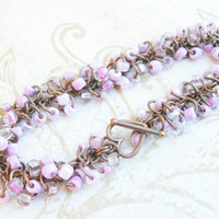Shaggy loops chainmail bracelet/ pink glass beads and bronze wire heart toggle clasp