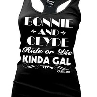 """Women's """"Bonnie and Clyde"""" Tank by Cartel Ink (Black)"""