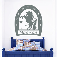 Name Wall Decals Horse Decal Boy Nursery Room Decor Sticker Vinyl Custom MR702