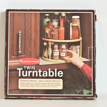 NIB Vintage Rubbermaid Twin Turntable Spice Rack, New in Box 1970s Rubber Maid Lazy Susan Spice Holder, Kitchen Cabinet Organizer