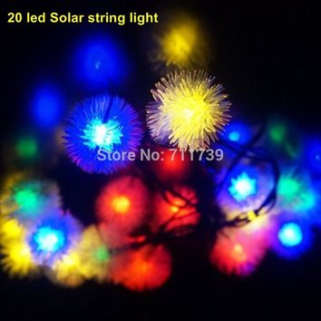 1SET 20 LED Solar String Fairy Lights Solar Powered Outdoor String Lights for Outside Garden Camping Patio Party Christmas