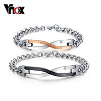 Vnox Brand Design Bracelet for Couples Stainless Steel Lovers Wedding Jewelry