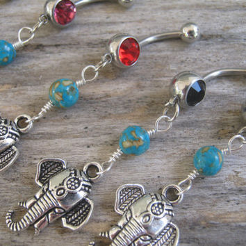 Pick One Turquoise Elephant Belly Ring, Belly Button Ring, Birthstone Piercing, Hindu India Body Jewelry, Buddhist Elephant Body Jewelry