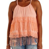 Plus Size Embroidered Mesh Fringe Tank Top