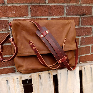 Waxed Canvas Foldover Messenger Bag-as seen in SOUTHERN LIVING 2013 Holiday Gift Guide-Unisex Brushed Brown Messenger Bag