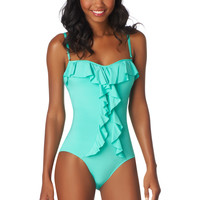 mint ruffle front one piece swimsuit