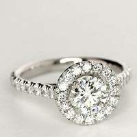 1.7CT Round Cut Solitaire Russian Lab Diamond Halo Engagement Ring