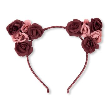 Girls Flower Ears Velvet Headband