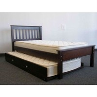 Twin Size Platform Bed Daybed With Trundle In Cappuccino