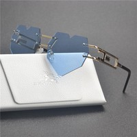 MINCL/ new Womens Designer Cute Rimless Love Heart Shaped Sunglasses Vintage Round Rimless Clear Oversized Sunglasses small  FML