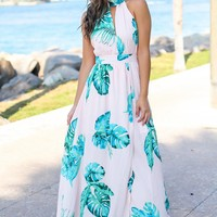 Blush and Green Printed Maxi Dress with Open Back