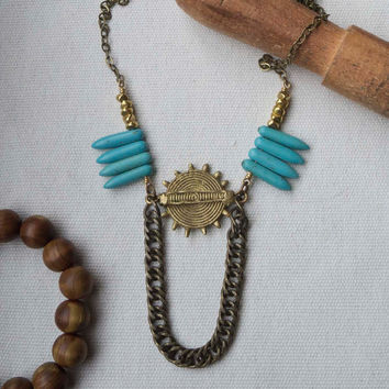 African brass necklace, turquoise spike, eco jewelry, recycled chain, long boho necklace, tribal, blue, gold, ethnic jewelry