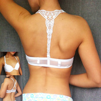 Womens Sexy Front Closure Lace Racer Back Push Up Seamless Bra