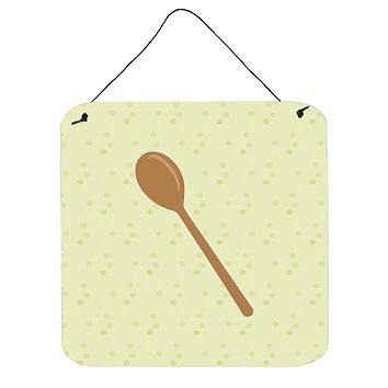 Wooden Spoon on Green Wall or Door Hanging Prints BB7300DS66