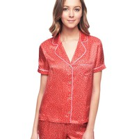 Siren Starry Roads Silk Short Sleeve Pj Top by Juicy Couture,