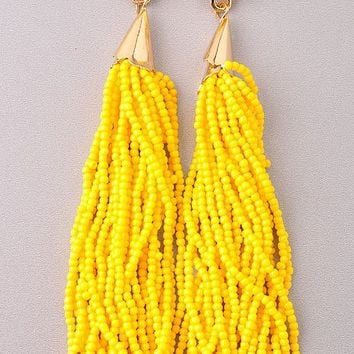 RIO BEADED TASSEL EARRINGS - YELLOW