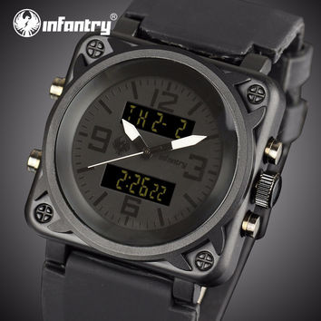 INFANTRY Watches Men Luxury Square Face Chronograph Aviator Military Quartz-watch Rubber Strap Auto Date Male Clock Relojes