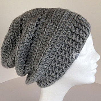 Womens winter beanie, Gray slouchy beanie, Gray winter hat, Slouchy hat, Oversized slouchy hat,Chunky gray hat,Womens slouch hat,Grey beanie