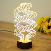 WOMHOPE LED Art Sculpture Lights Up Night Lights Desk Lamp with Wooden Base - 3D Visualization - Japanese anime / Movie Characters / Unique Lighting Effects Amazing Optical Illusion Home Decor Lamp for Kids,Valentines Gift,Lovers (Spiral)