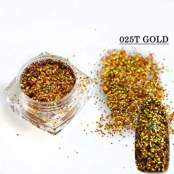 1g 0.6mm Nail Glitter Hexagonal Laser Gold Silver Powder Dust Designs DIY Craft Sparkly Paillette Manicure Nails 025T