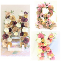 Floral letters - Paper flower letters or numbers - Flower letters in your choice of color - Floral nursery decor - Baby shower letter